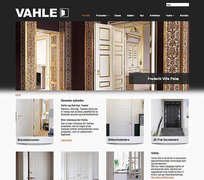 Vahle hjemmeside designet af Janne Vinther